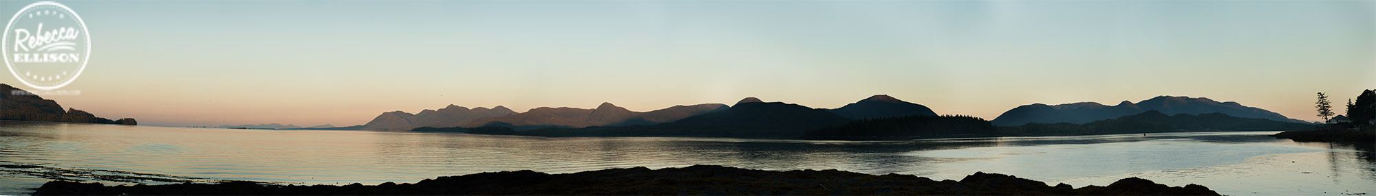 Ketchikan Sunrise panorama of the ocean and mountains photographed by Rebecca Ellison Photography
