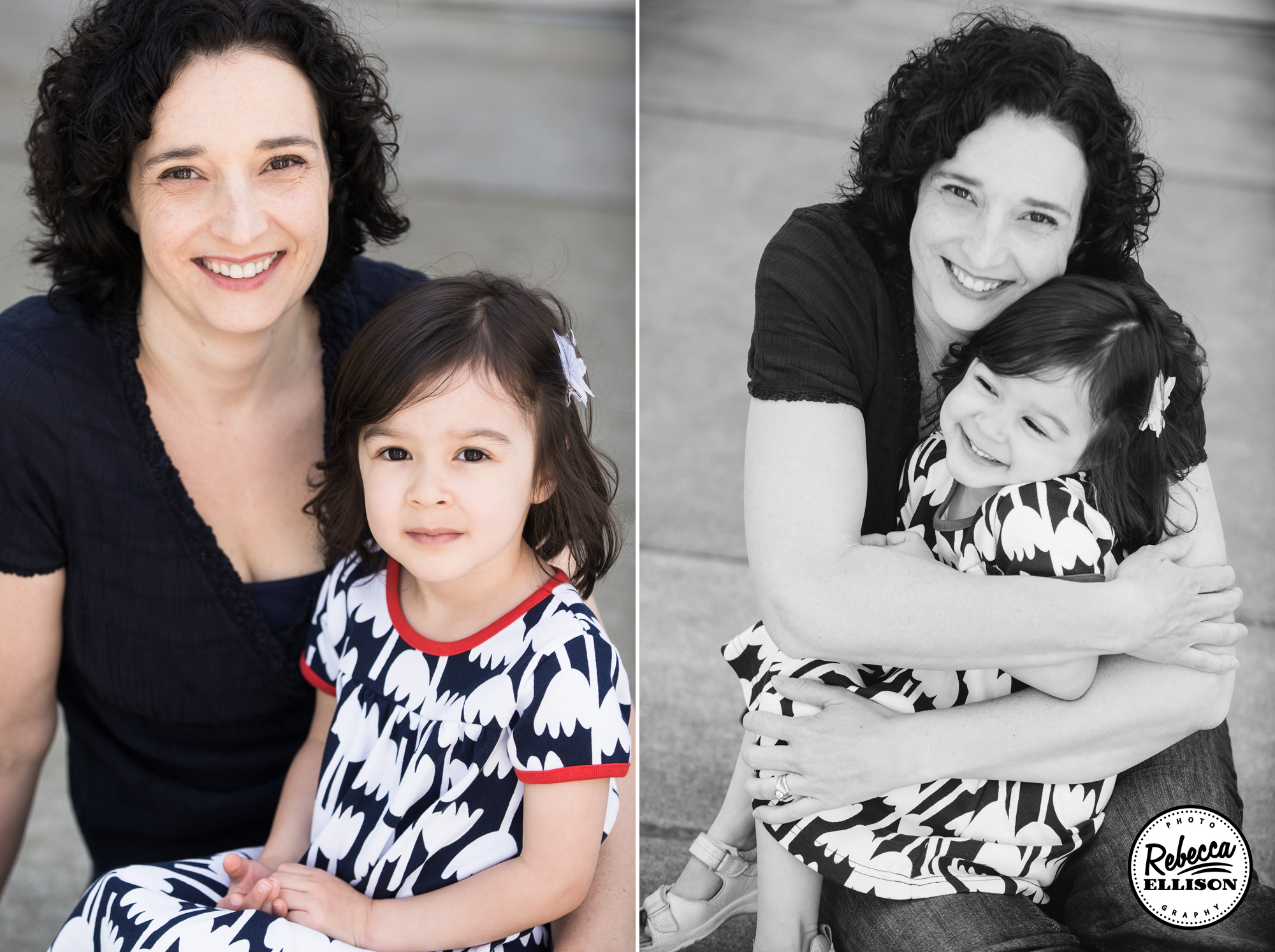 Mother and daughter sit together during Kirkland family portraits photographed by Rebecca Ellison Photography