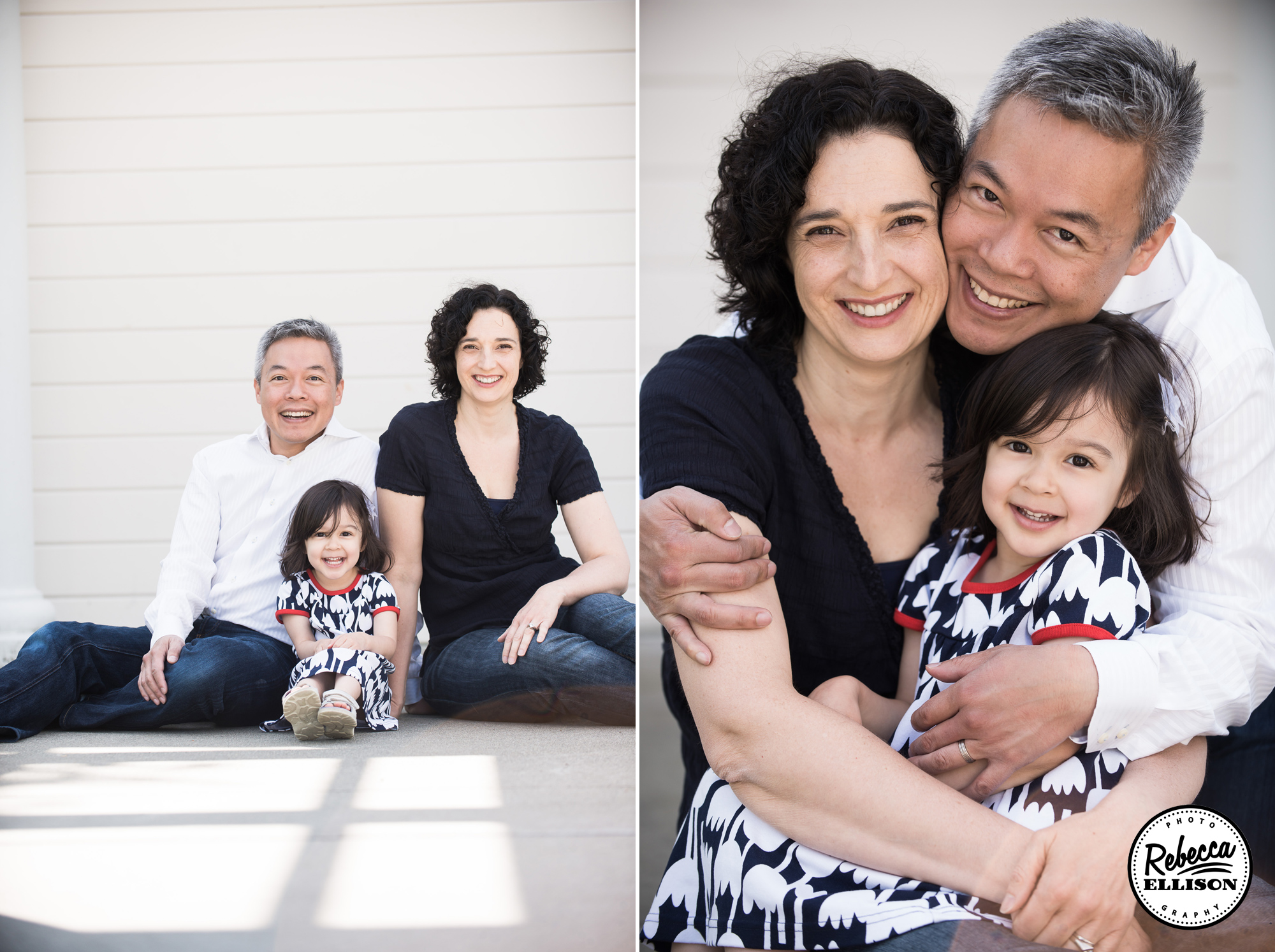 A family of three poses together during a portrait session with Kirkland Family Photographer Rebecca Ellison