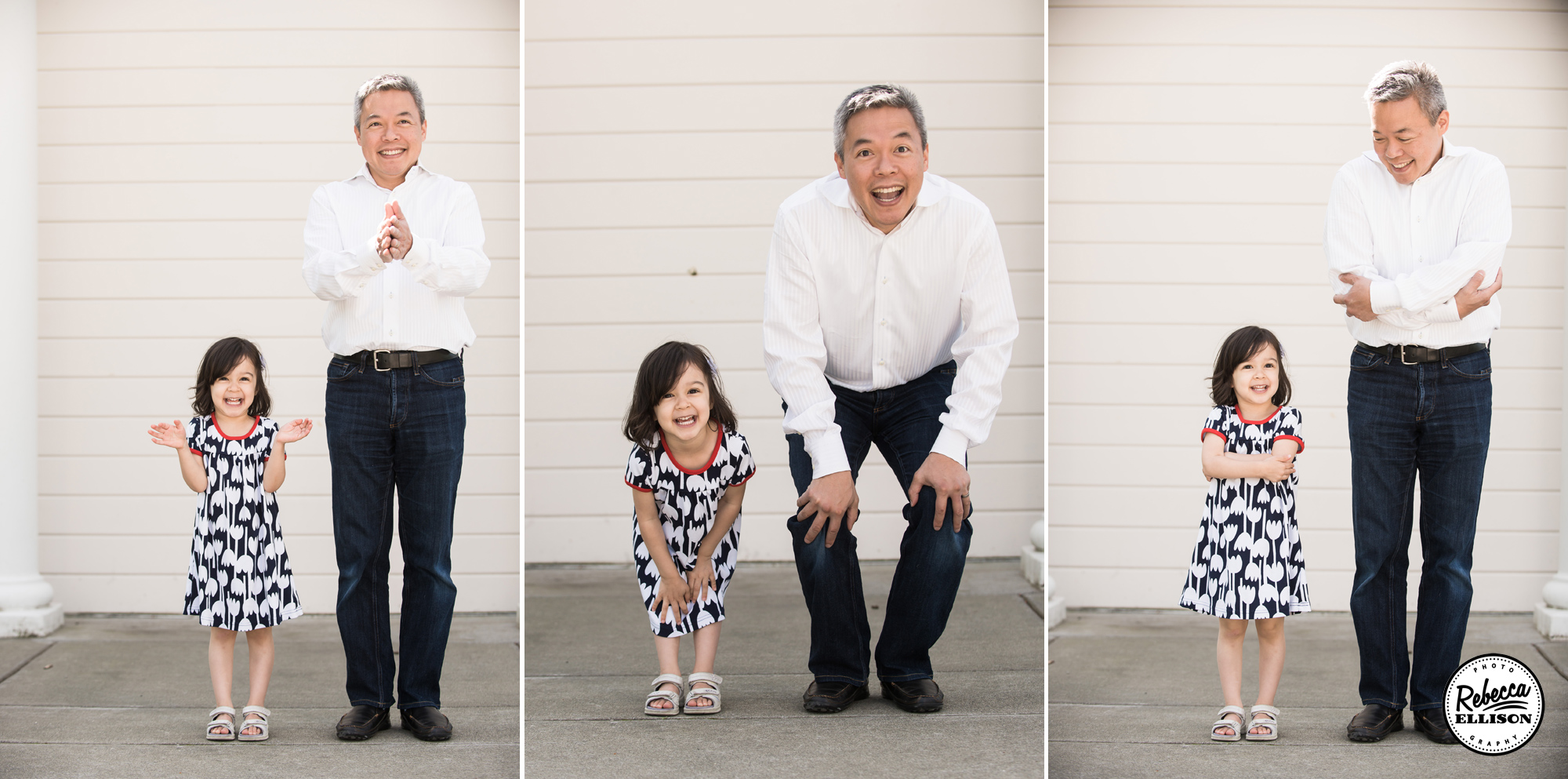 Father and Daughter are silly together during Kirkland family portraits by Rebecca Ellison Photography