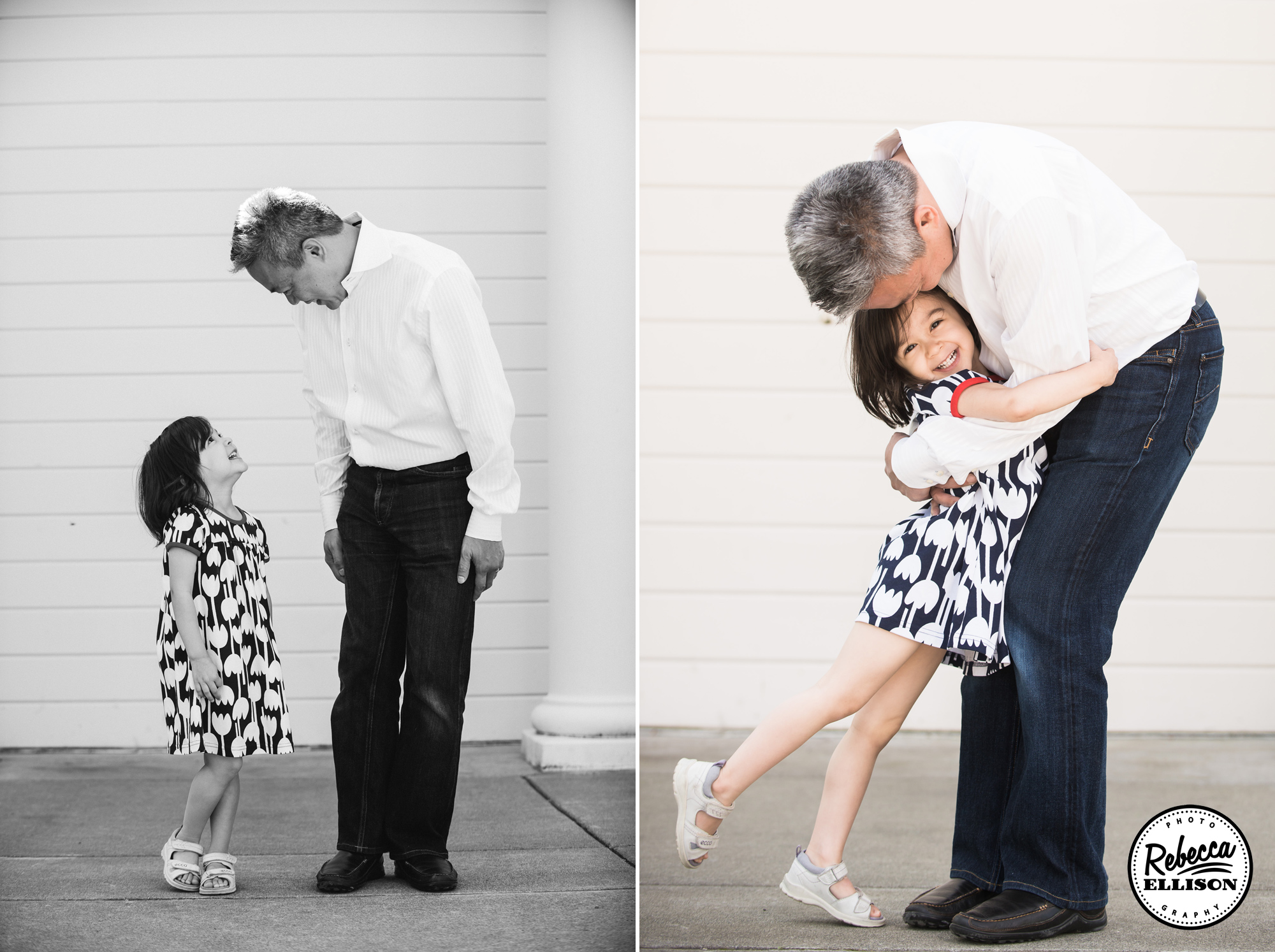 Father and Daughter hug each other during a family portrait session with Kirkland family photographer Rebecca Ellison