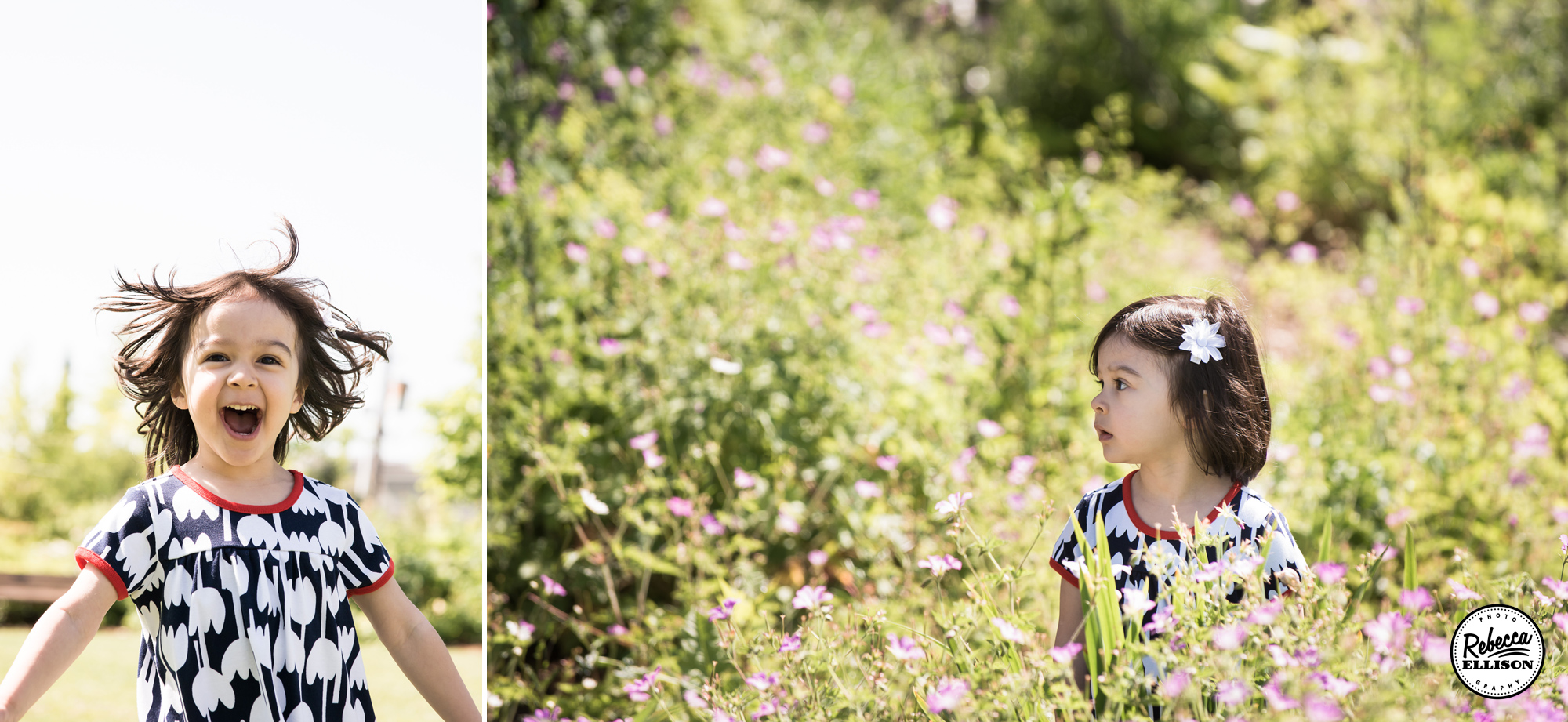 A little girl plays in the sunshine and walks through tall grass during outdoor family portraits by Kirkland family photographer Rebecca Ellison