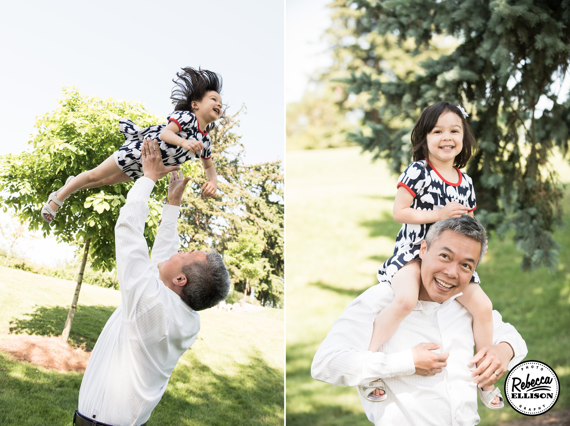 Father and Daughter play in the sun during an outdoor family portraits session with Kirkland Family Photographer Rebecca Ellison