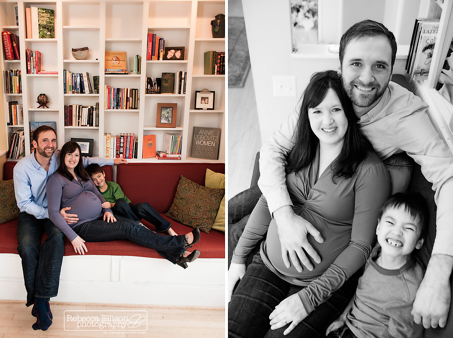 maternity family photos of family with young son in their seattle home by Rebecca Ellison Photography