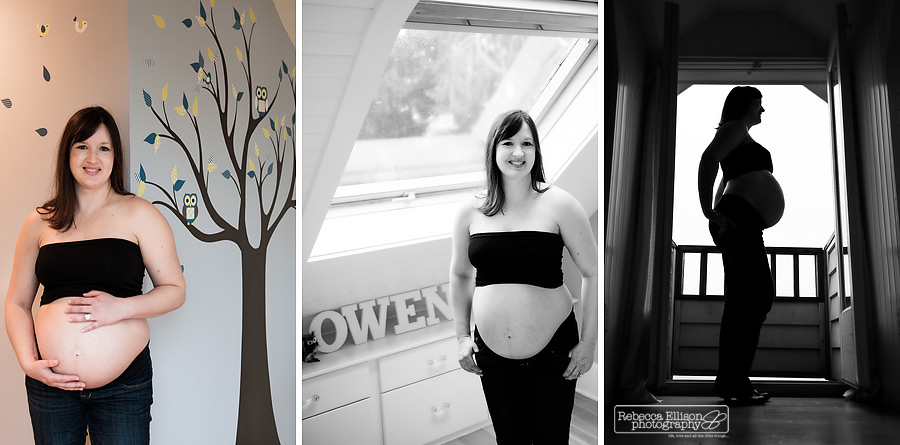 pregnant mom shows off belly in babies room with babies name in blocks behind during materntiy family photos