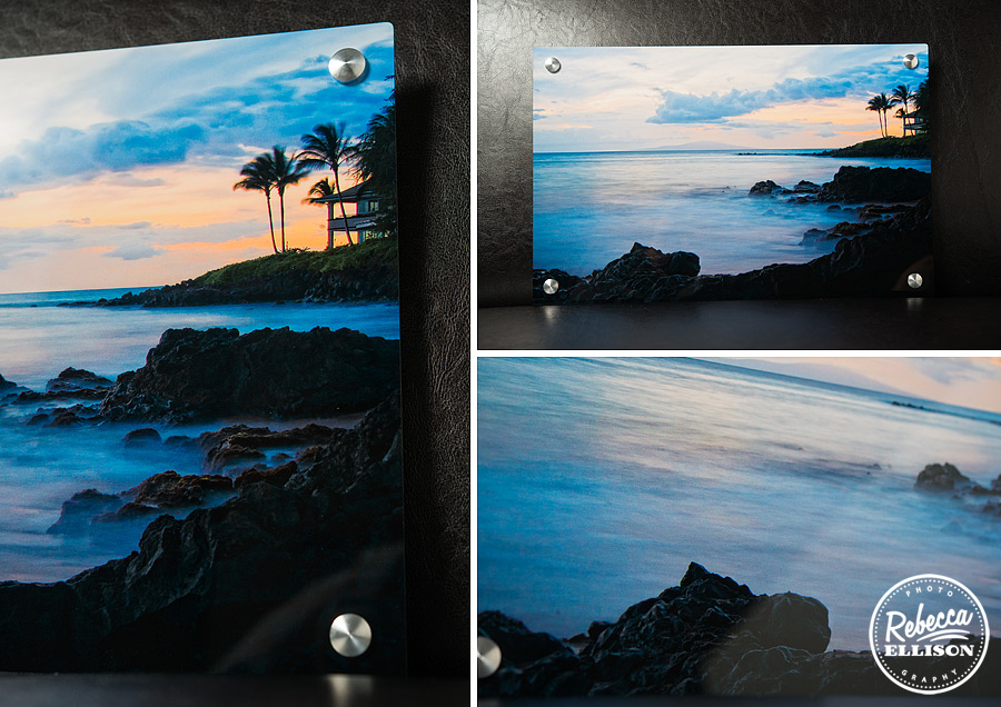 New product metal prints sample features and alaskan shoreline at sunrise this unique print displays photos in a exciting way photography by Rebecca Ellison Photography
