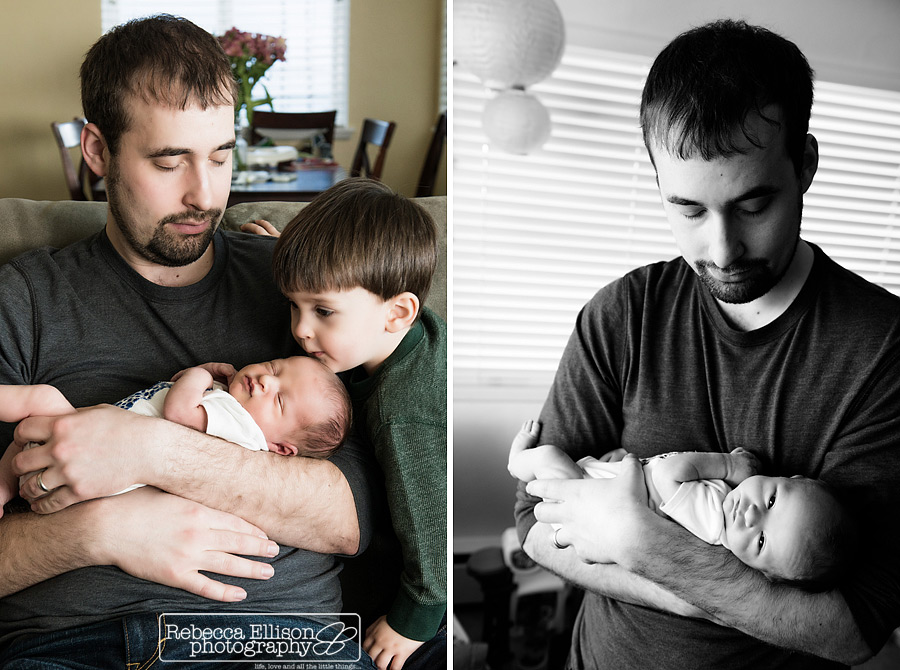 Father and his two sons in a family newborn portraits session photographed by Seattle newborn photographed Rebecca Ellison