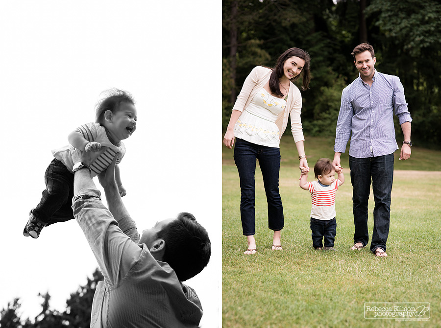 Carkeek Park Family Portraits as a baby turns one photographed by Seattle family photographer Rebecca Ellison