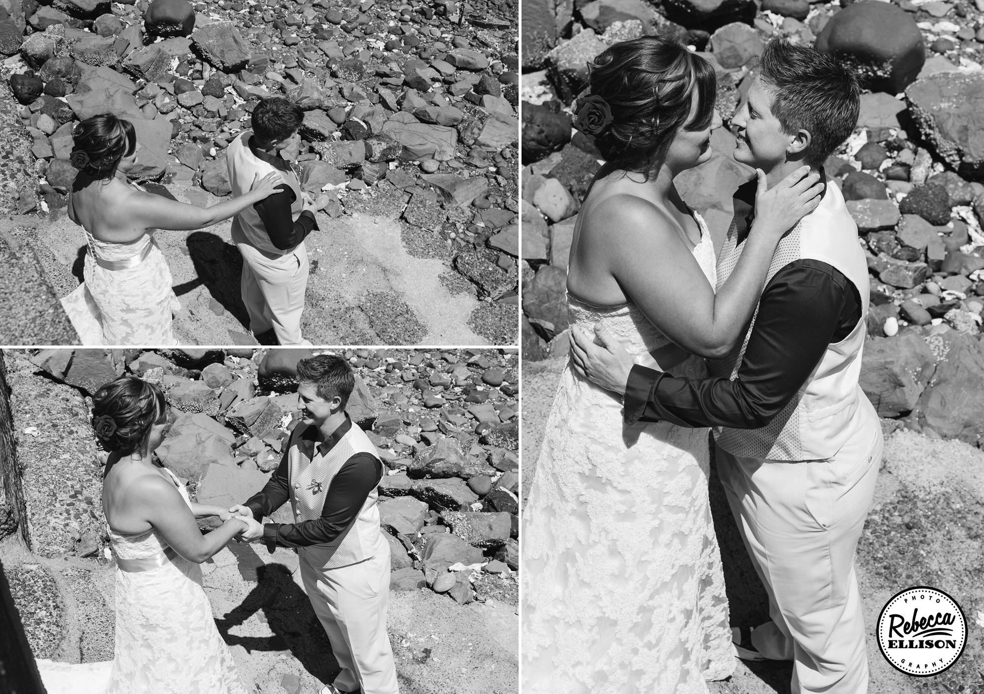 Same Sex couple poses for wedding portraits on a rocky beach photographed by Seattle wedding photographer Rebecca Ellison