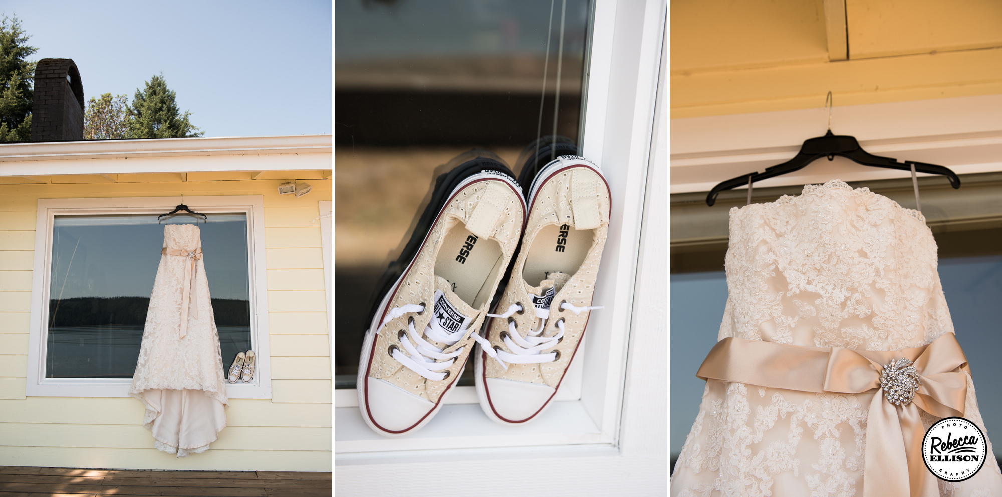Wedding dress details featuring a belted white wedding dress and white sneakers photographed at Hoodsport Beach Club by Rebecca Ellison Photography