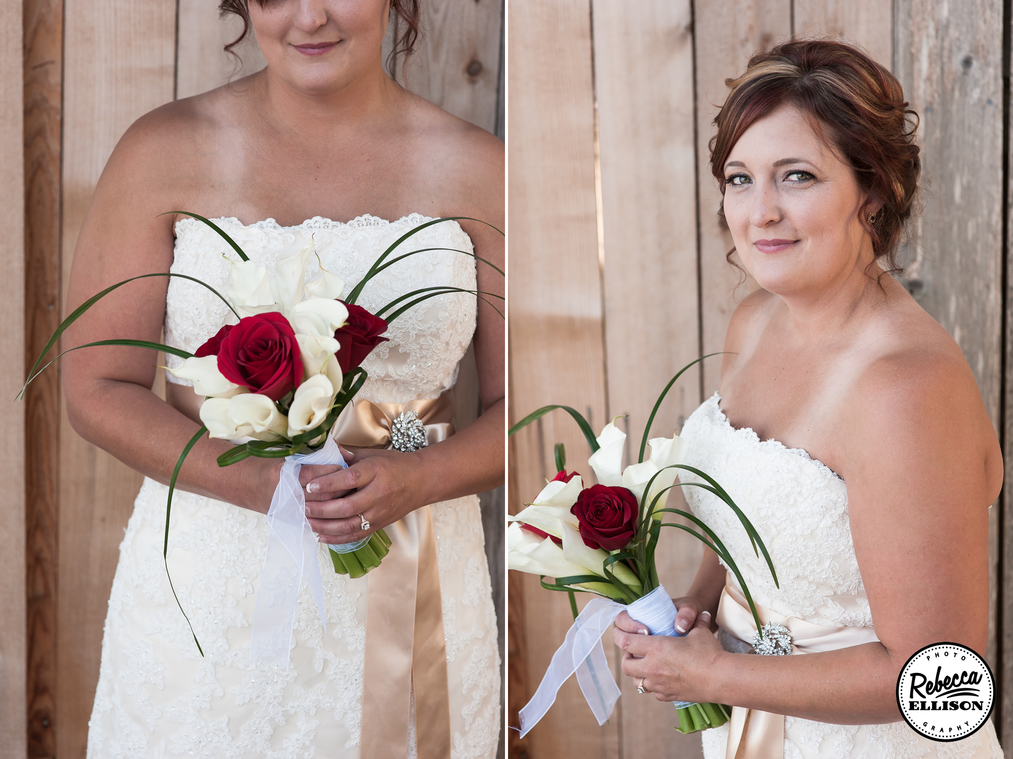 Outdoor bridal portraits featuring a strapless belted wedding dress and red and white flowers photographed by Rebecca Ellison Photography