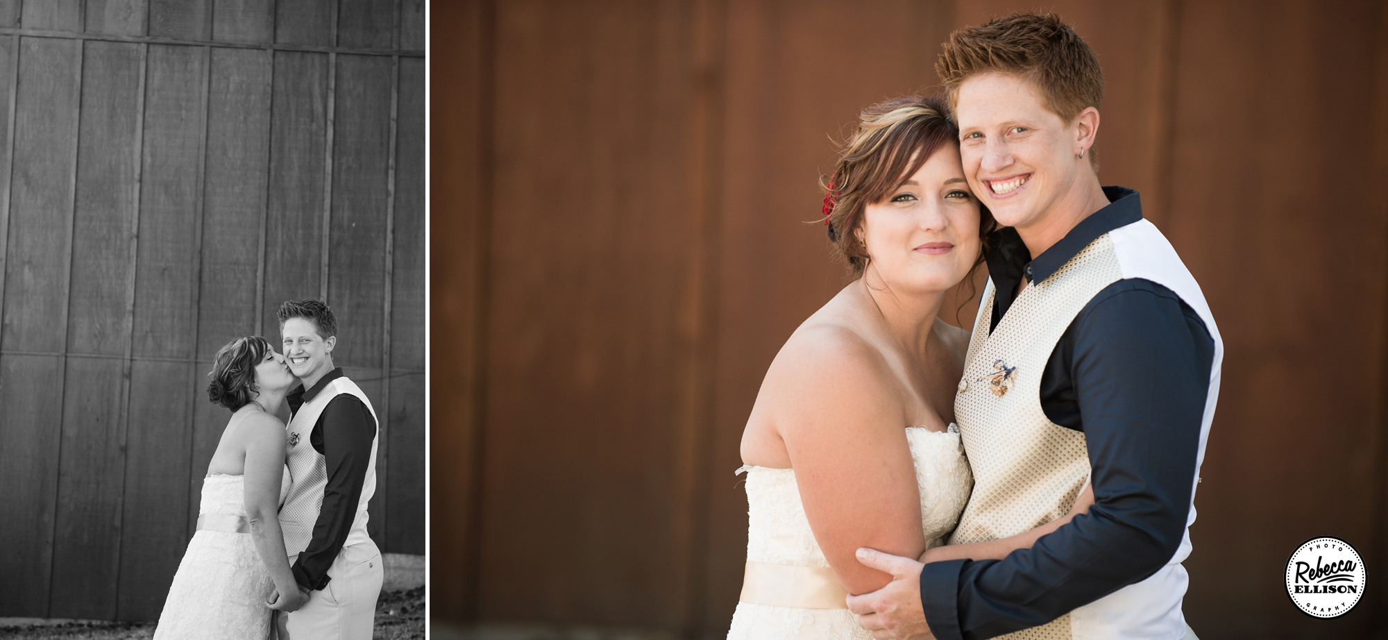 Same Sex wedding portraits in front of a wooden wall photographed by Rebecca Ellison Photography