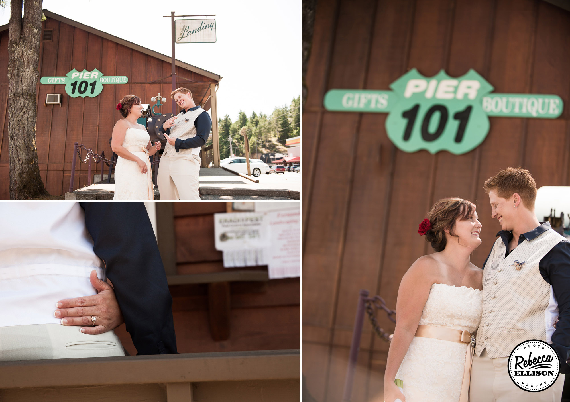 Beachfront wedding portraits in front of a boat house and vintage road signs photographed by Seattle wedding photographer Rebecca Ellison