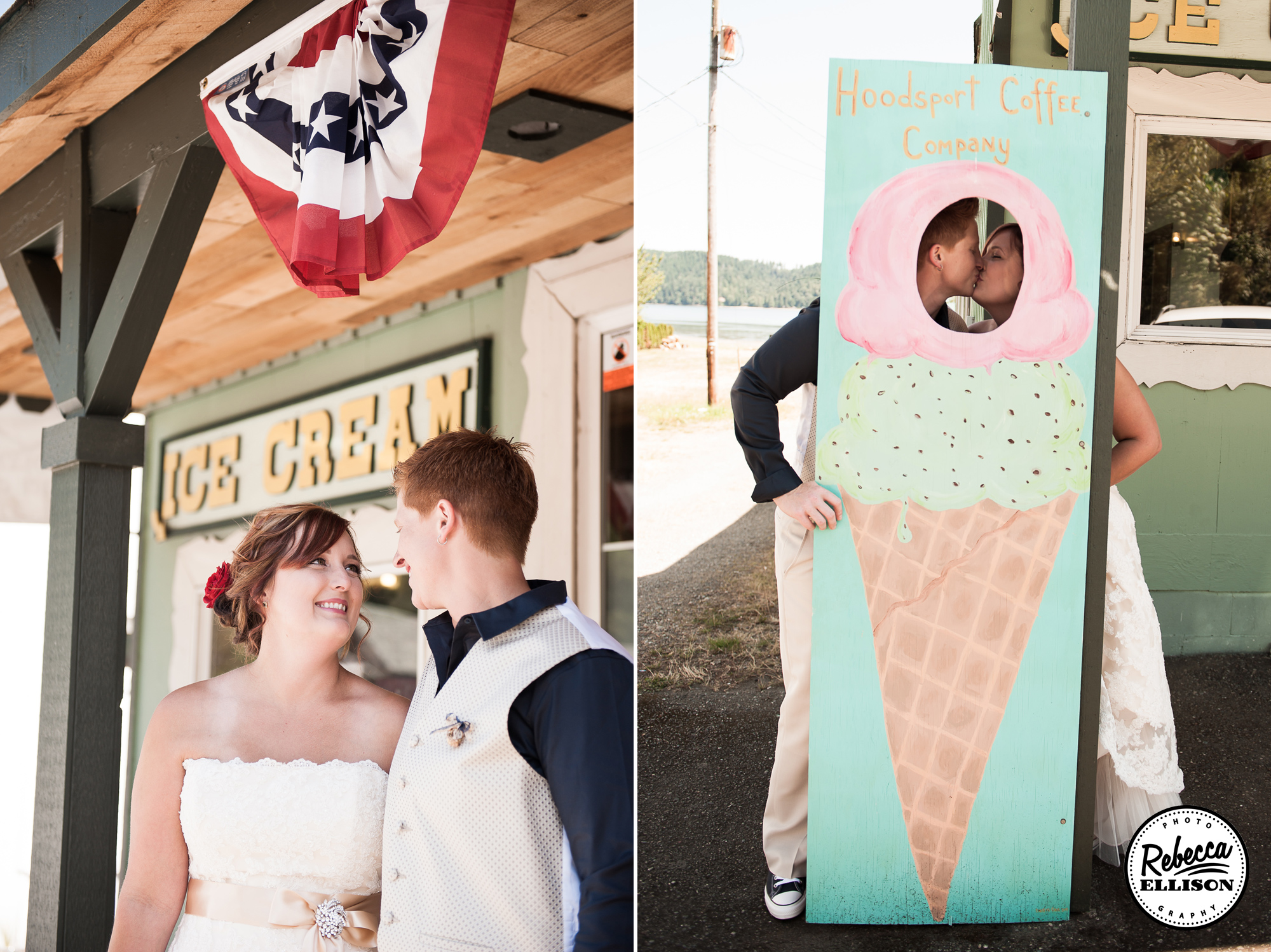 Beachfront wedding featuring vintage signs and an ice cream stand up at Hoodsport Beach Club photographed by Seattle wedding photographer Rebecca Ellison