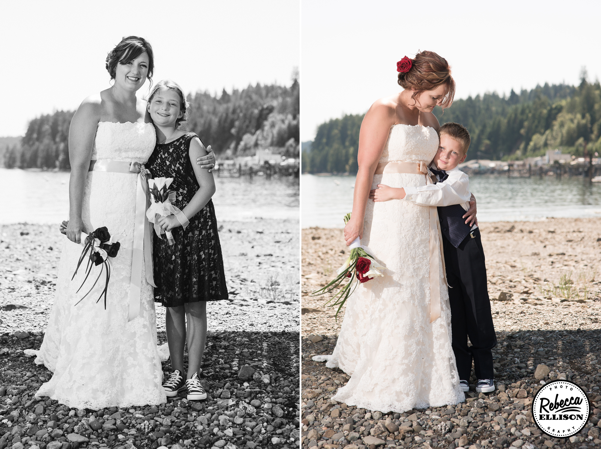 Bride on the beach with her ringbearer and flower girl at a beachfront wedding photographed by Seattle wedding photographer Rebecca Ellison featuring a white belted wedding dress and navy blue accents