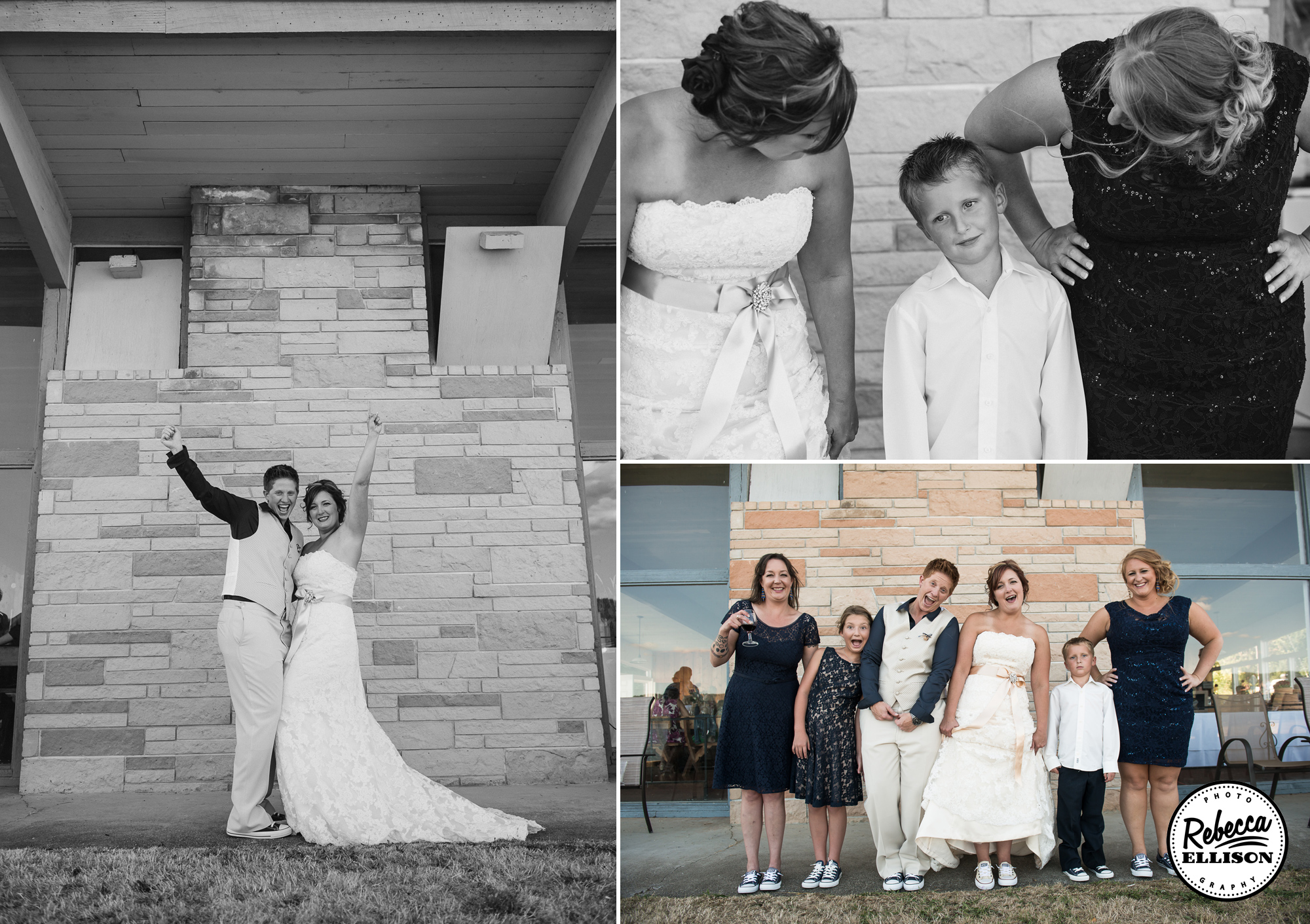 Outdoor wedding party portraits in front of a brick wall at the Hoodsport Beach Club photographed by Seattle wedding photographer Rebecca Ellison