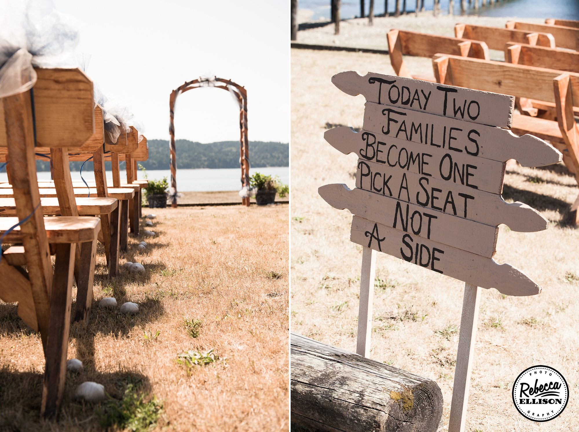 Beachfront wedding details featuring wooden benches in the sand and driftwood signs photographed by Rebecca Ellison Photography