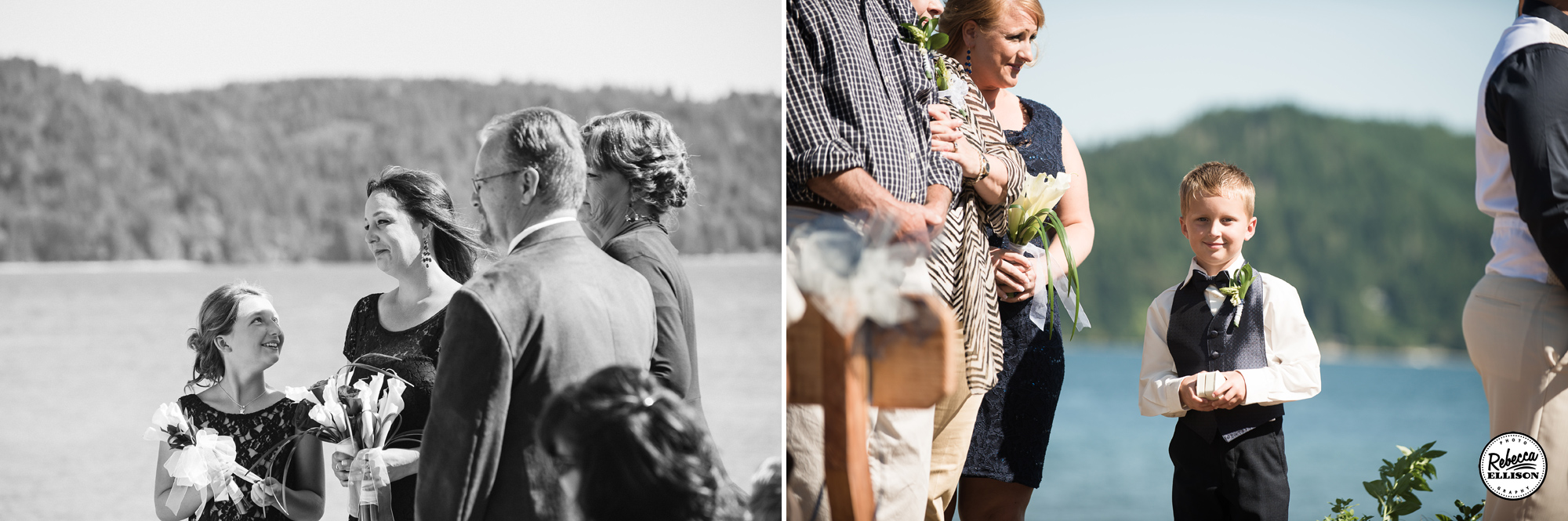 Wedding party during an outdoor wedding ceremony at the beach featuring Navy Blue dress photographed by Rebecca Ellison Photography
