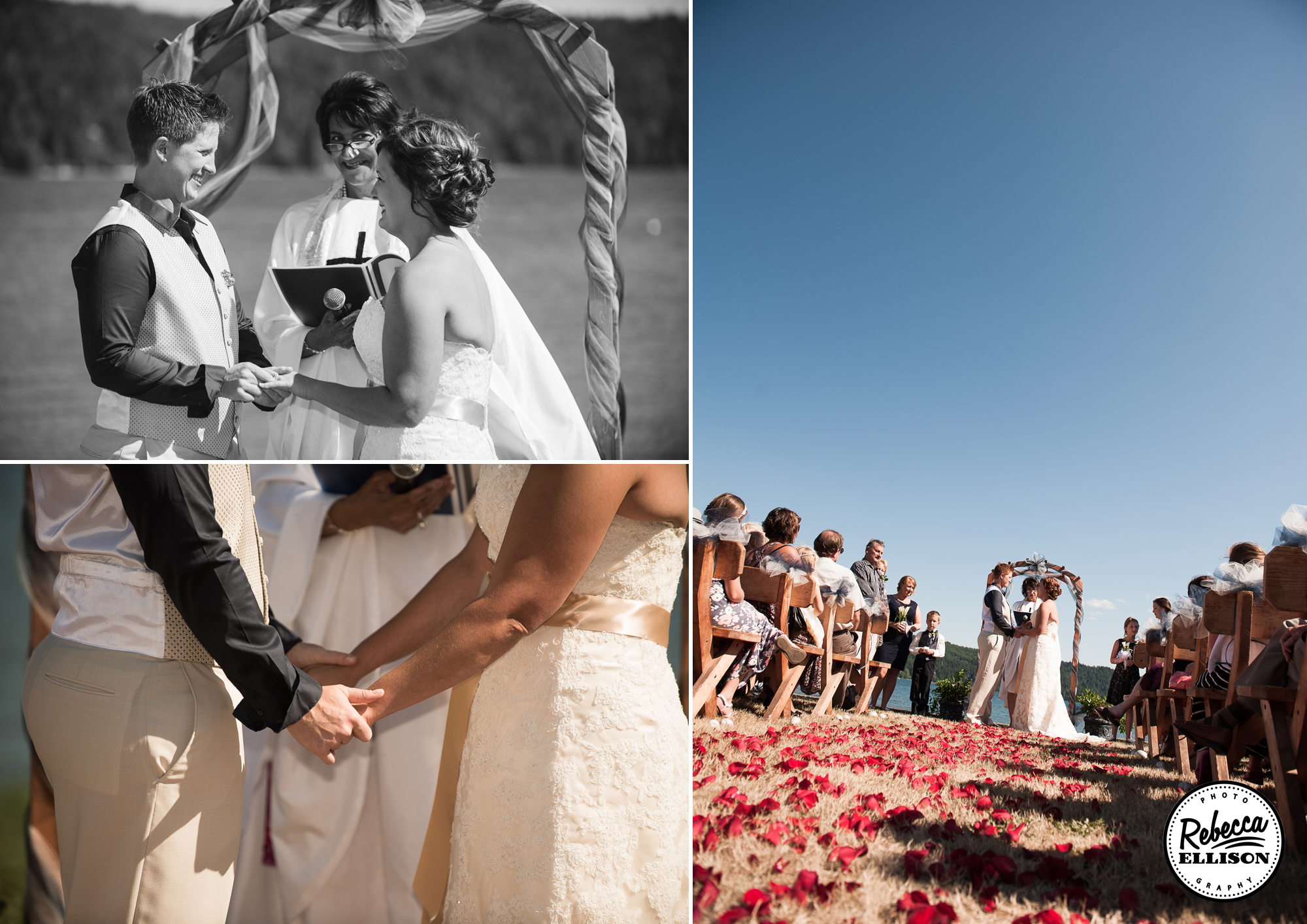 Same Sex beachfront wedding featuring a belted white wedding dress, flower petals in the sand and sunshine photographed by Seattle wedding photographer Rebecca Ellison