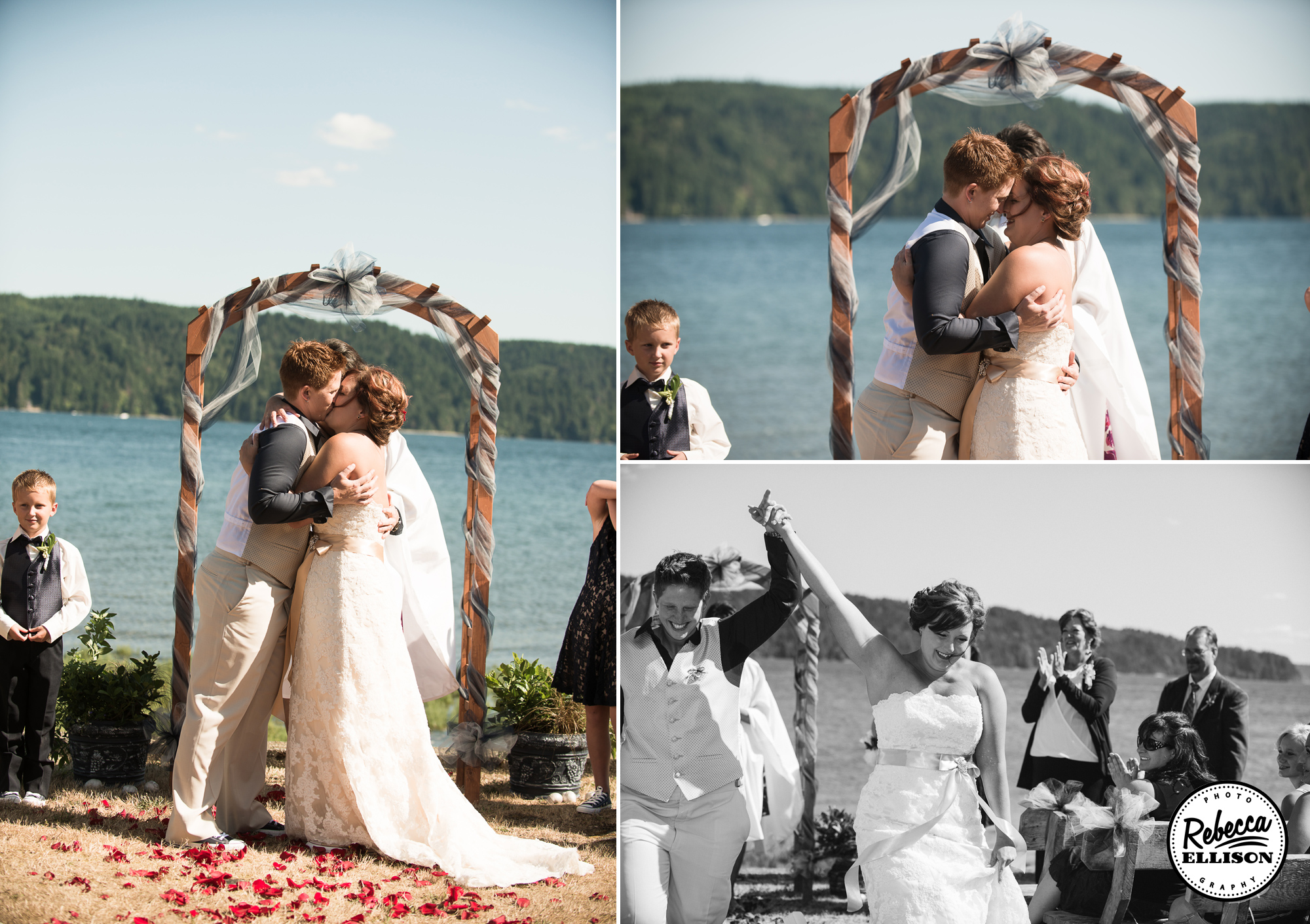 Outdoor Beachfront wedding ceremony at the Hoodsport Beach Club featuring a belted white wedding dress, wooden arch and flower petals photographed by Rebecca Ellison Photography