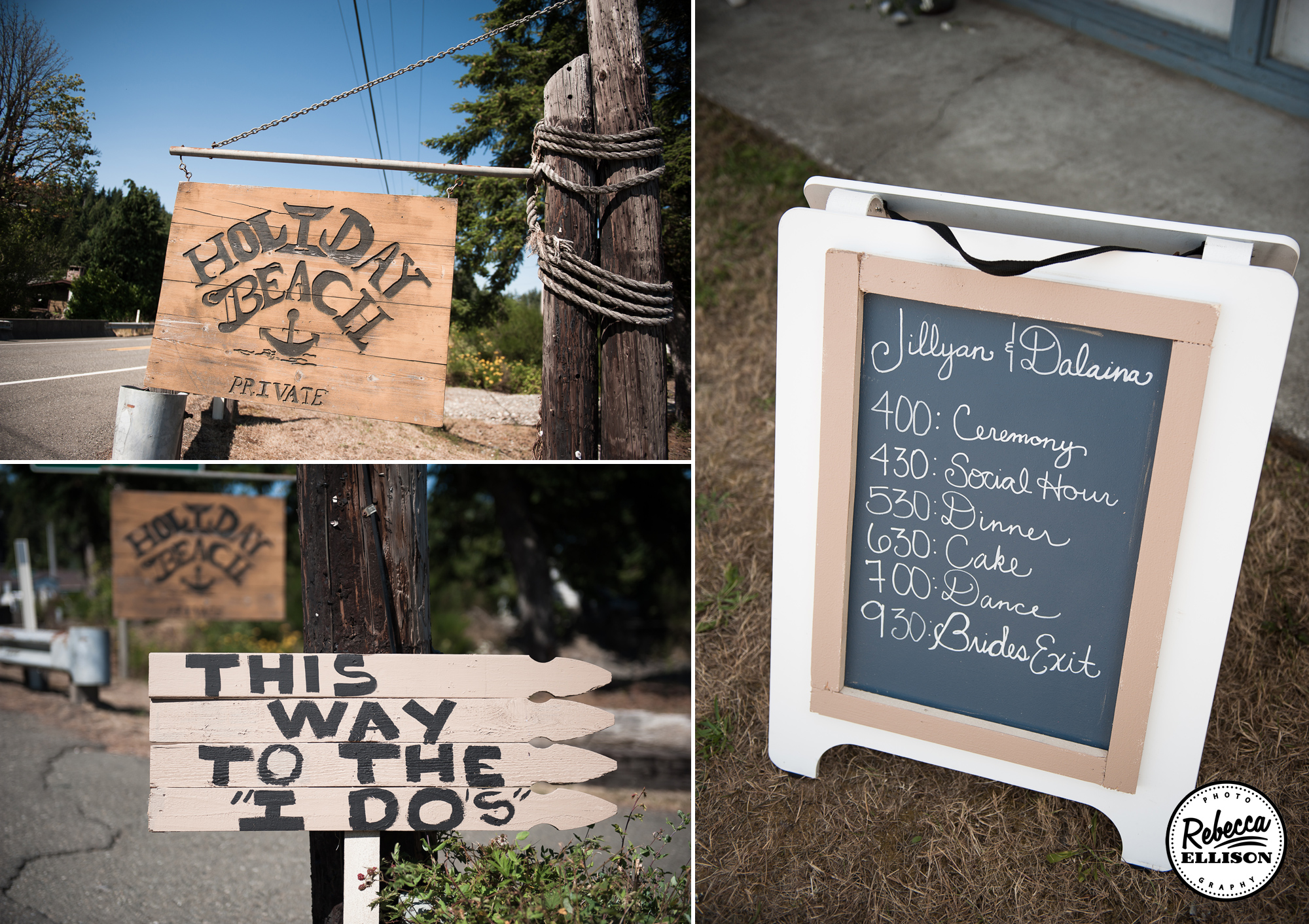 Rustic wooden signs and chalkboard details at an outdoor beachfront wedding photographed by Seattle wedding photographer Rebecca Ellison