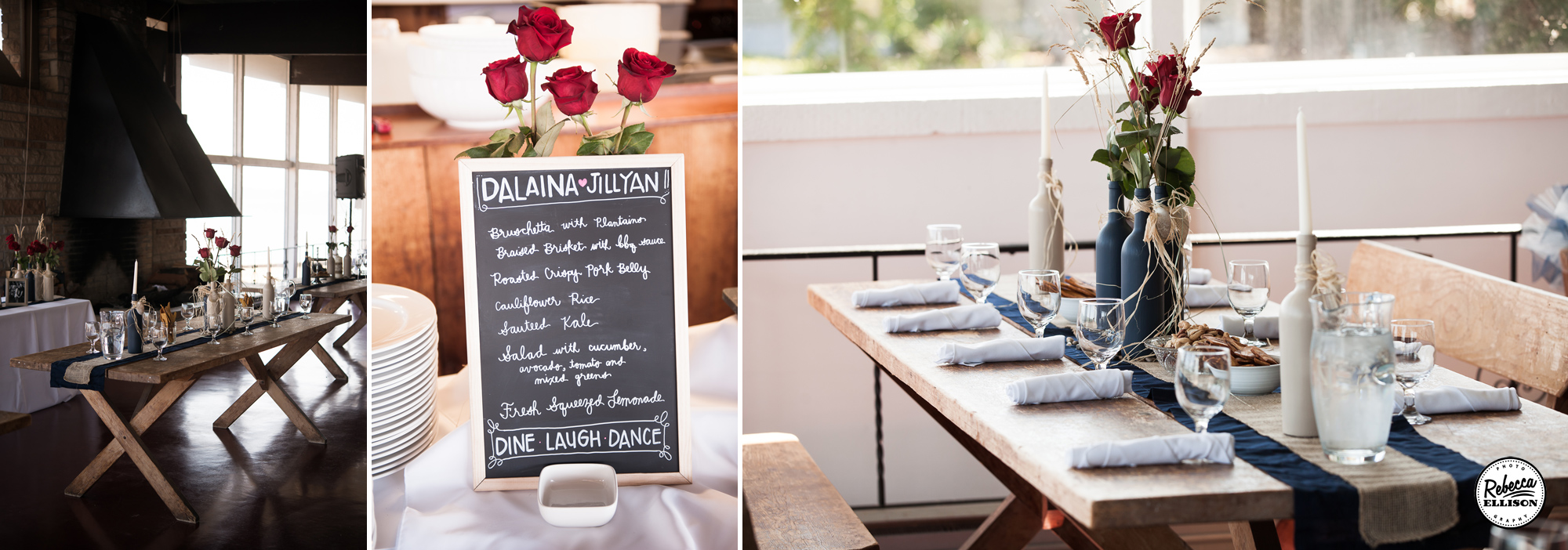Chalkboards, red roses and painted wine bottles highlight an intimate beachfront wedding at the Hoodsport Beach Club photographed by Rebecca Ellison Photography