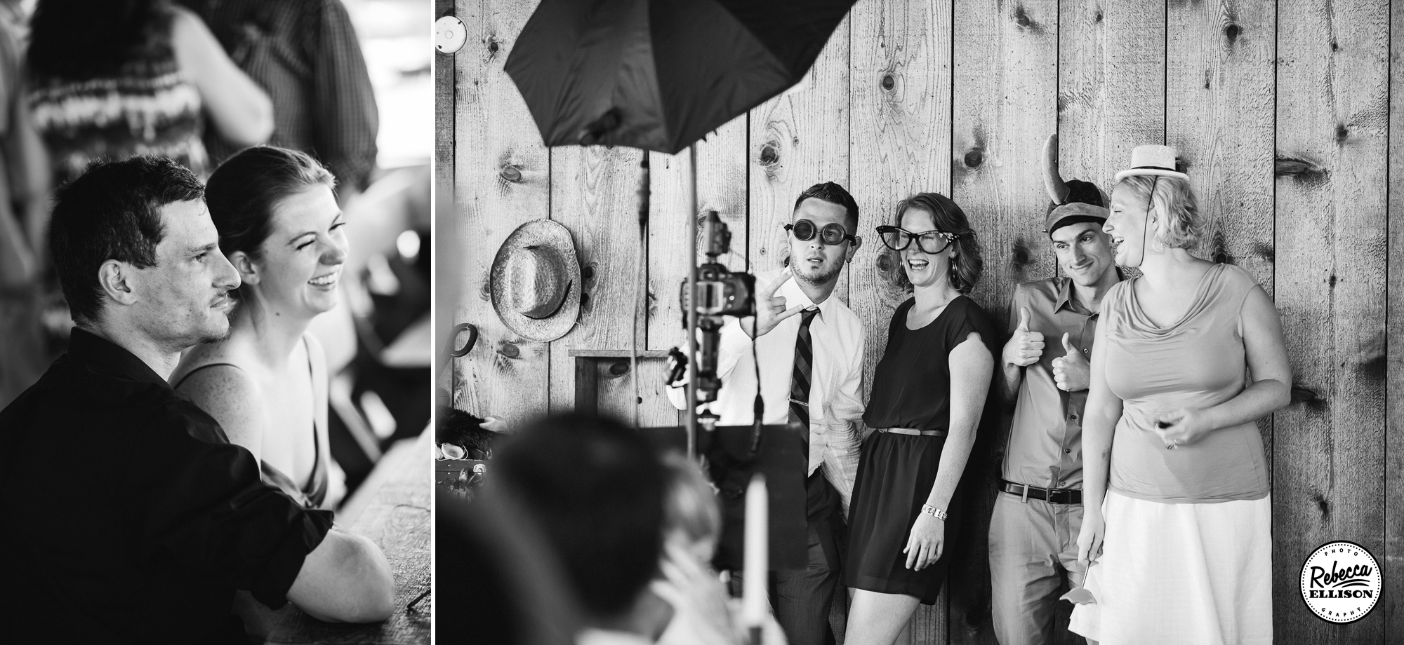 Wedding guests pose in a photo booth at an intimate beachfront wedding