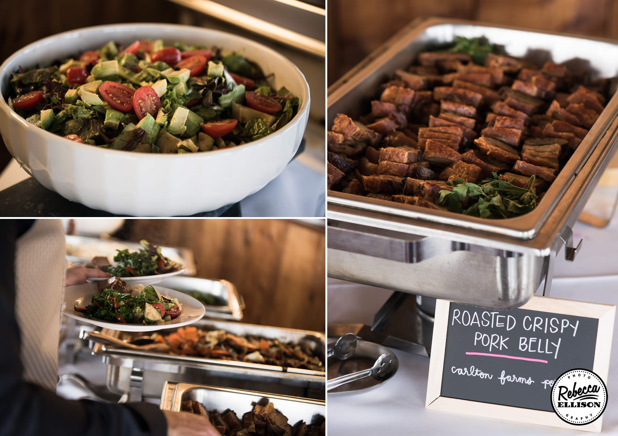 Buffet dinner at an outdoor wedding featuring chalboards photographed by Seattle wedding photographer Rebecca Ellison
