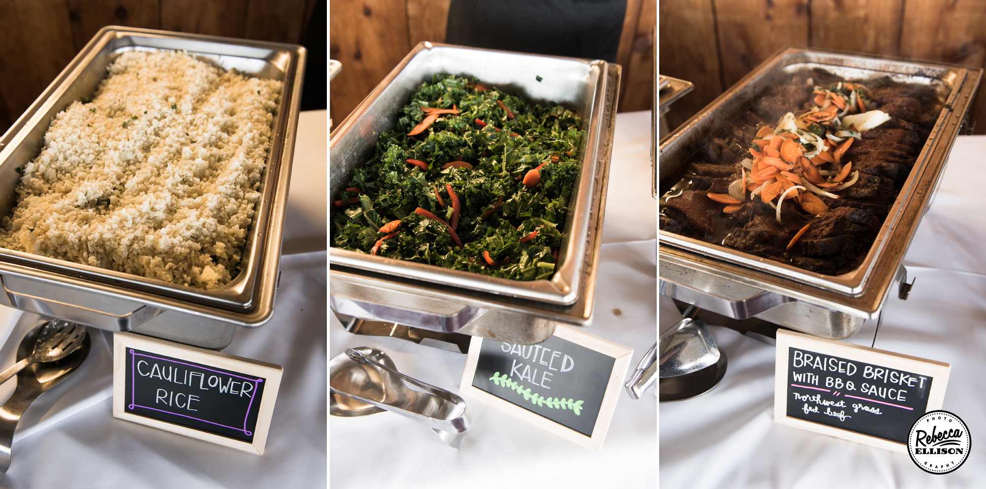 Dinner Buffet at a beachfront wedding with chalkboard menus photographed by Rebecca Ellison Photography