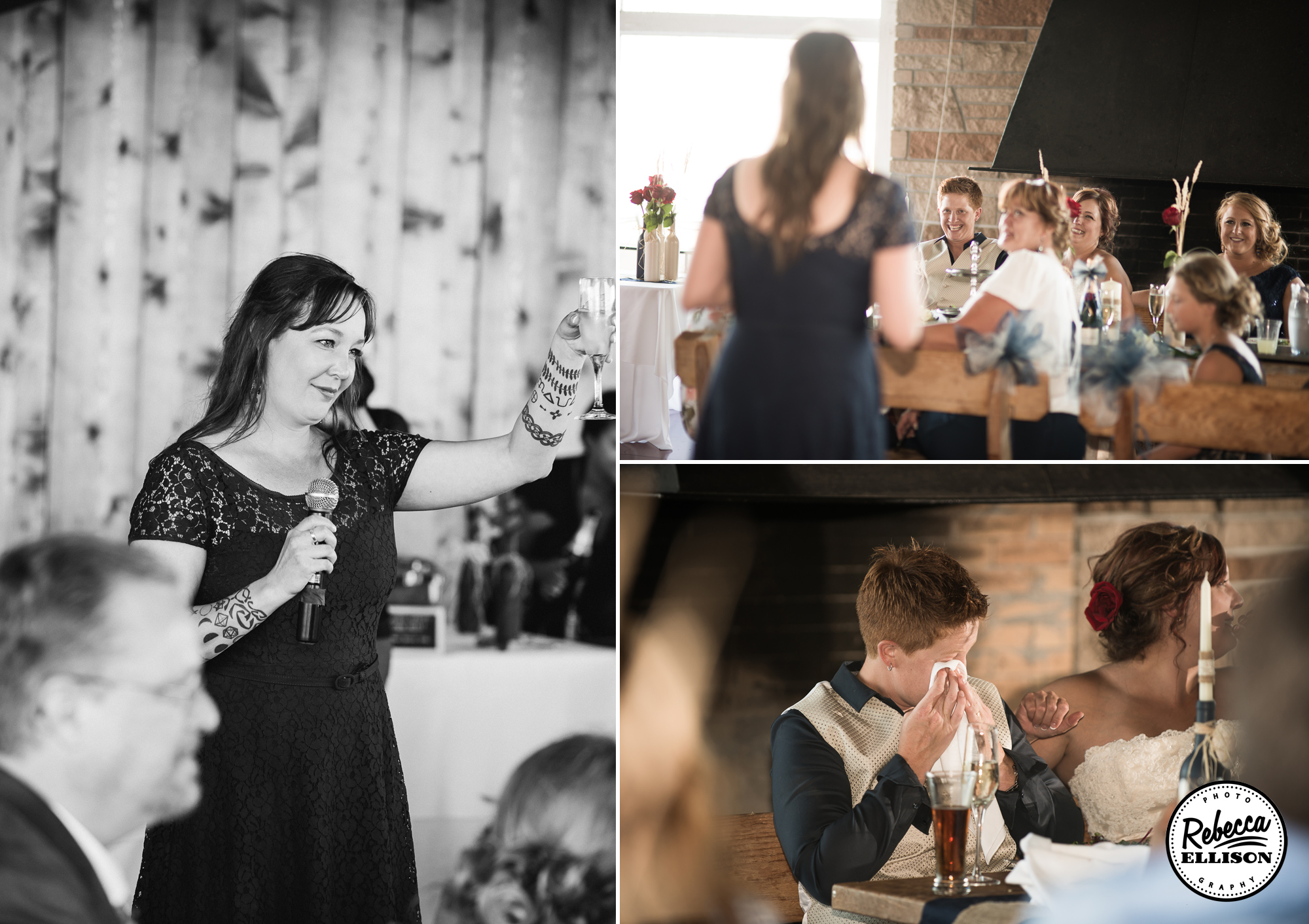 Toasts at an intimate wedding photographed by Rebecca Ellison Photography