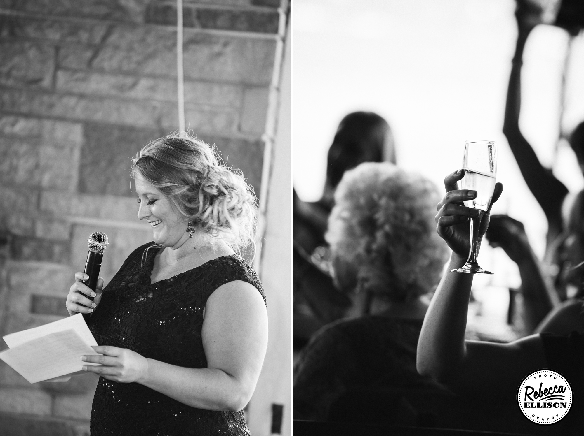 Toasts at a wedding reception at the Hoodsport Beach Club photographed by Seattle wedding photographer Rebecca Ellison