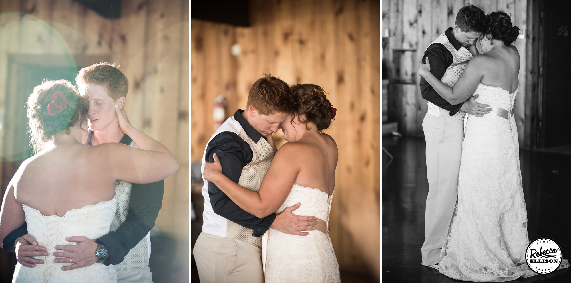 Same Sex couple dances at their wedding reception at the Hoodsport Beach Club featuring a belted white wedding dress photographed by Seattle wedding photographer Rebecca Ellison