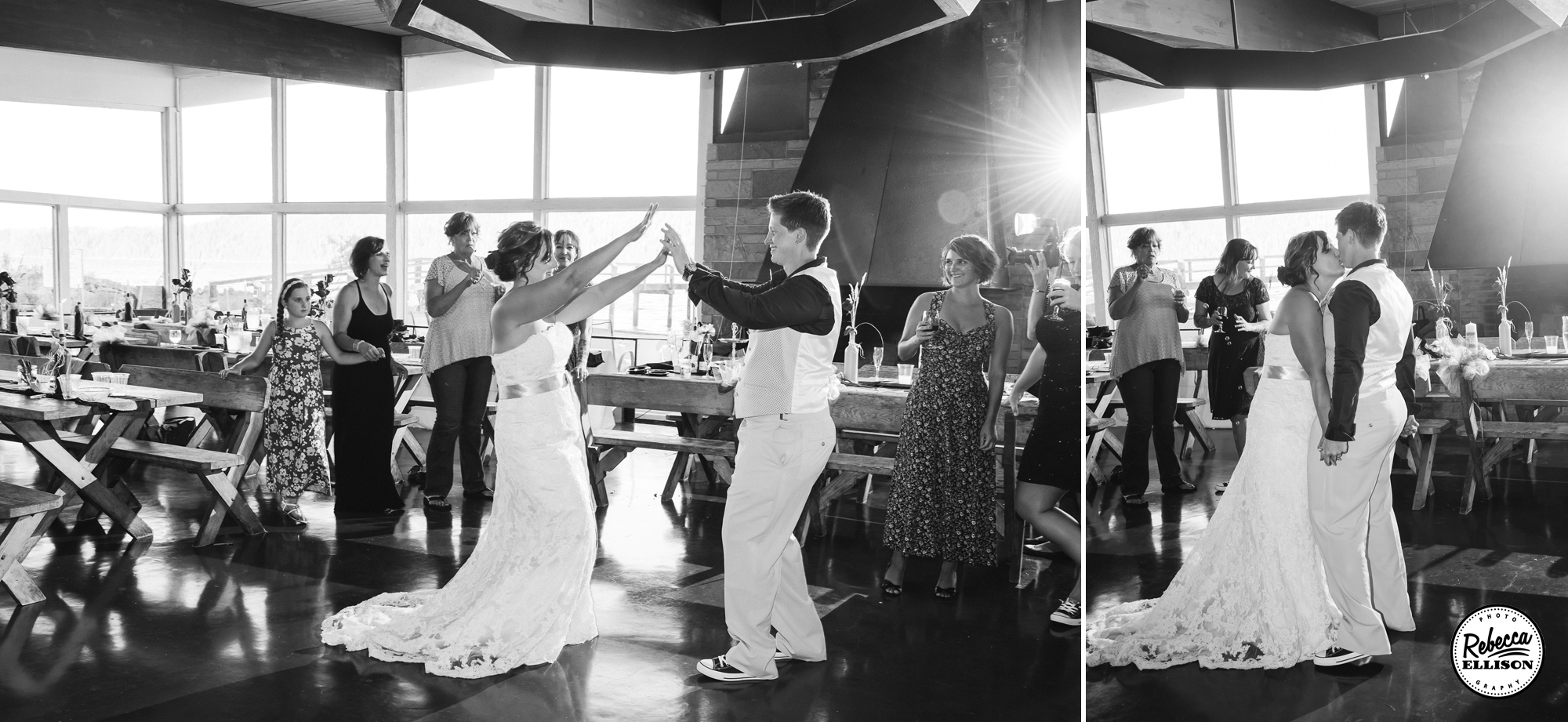 Black and white pictures of a same sex couple dancing on their wedding day photographed by Seattle wedding photographer Rebecca Ellison