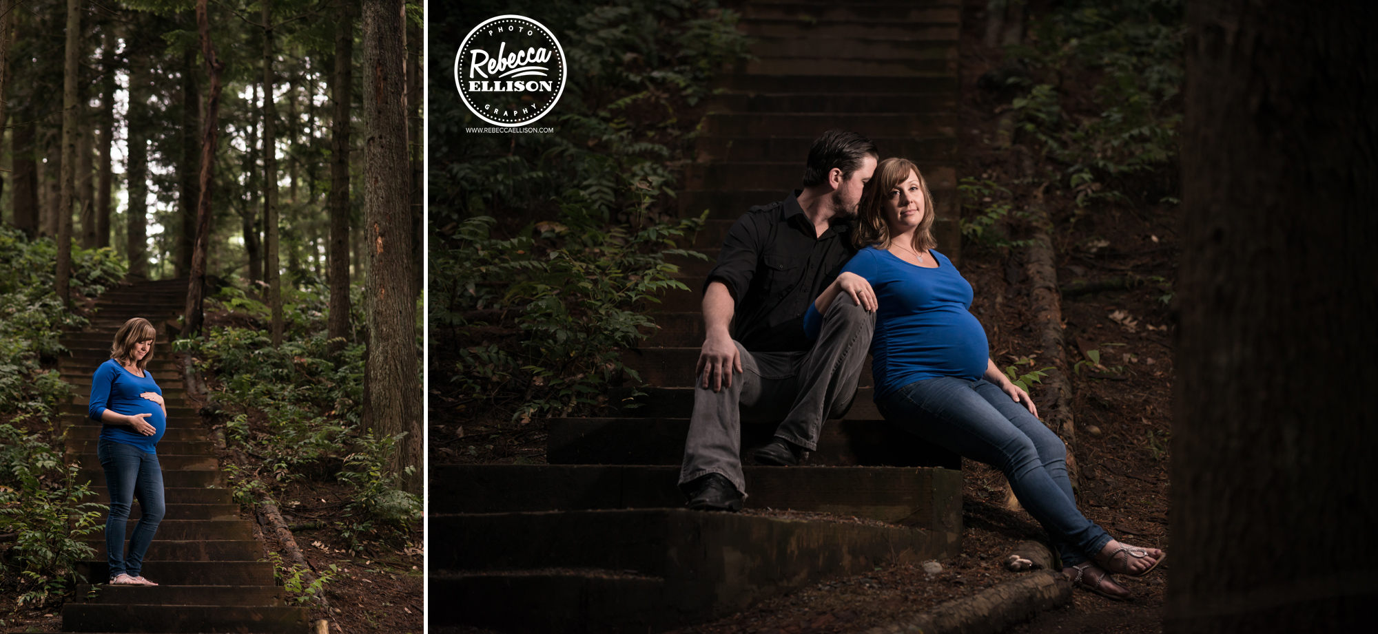 Outdoor pregnancy portraits in a forest setting photographed by Shoreline maternity photographer Rebecca Ellison