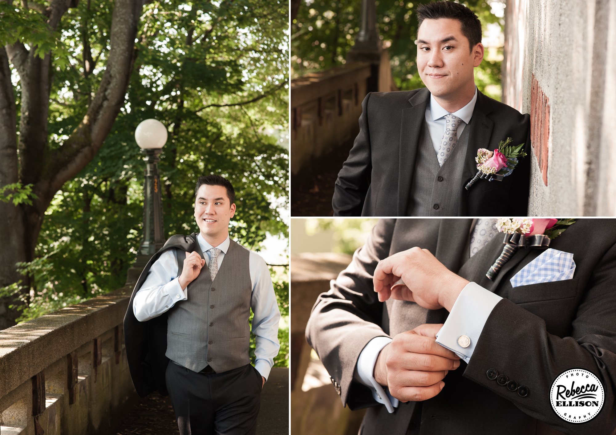Groom details featuring a dark grey suit with light grey vest, cufflinks and a pale pink boutonniere photographed by Rebecca Ellison photography