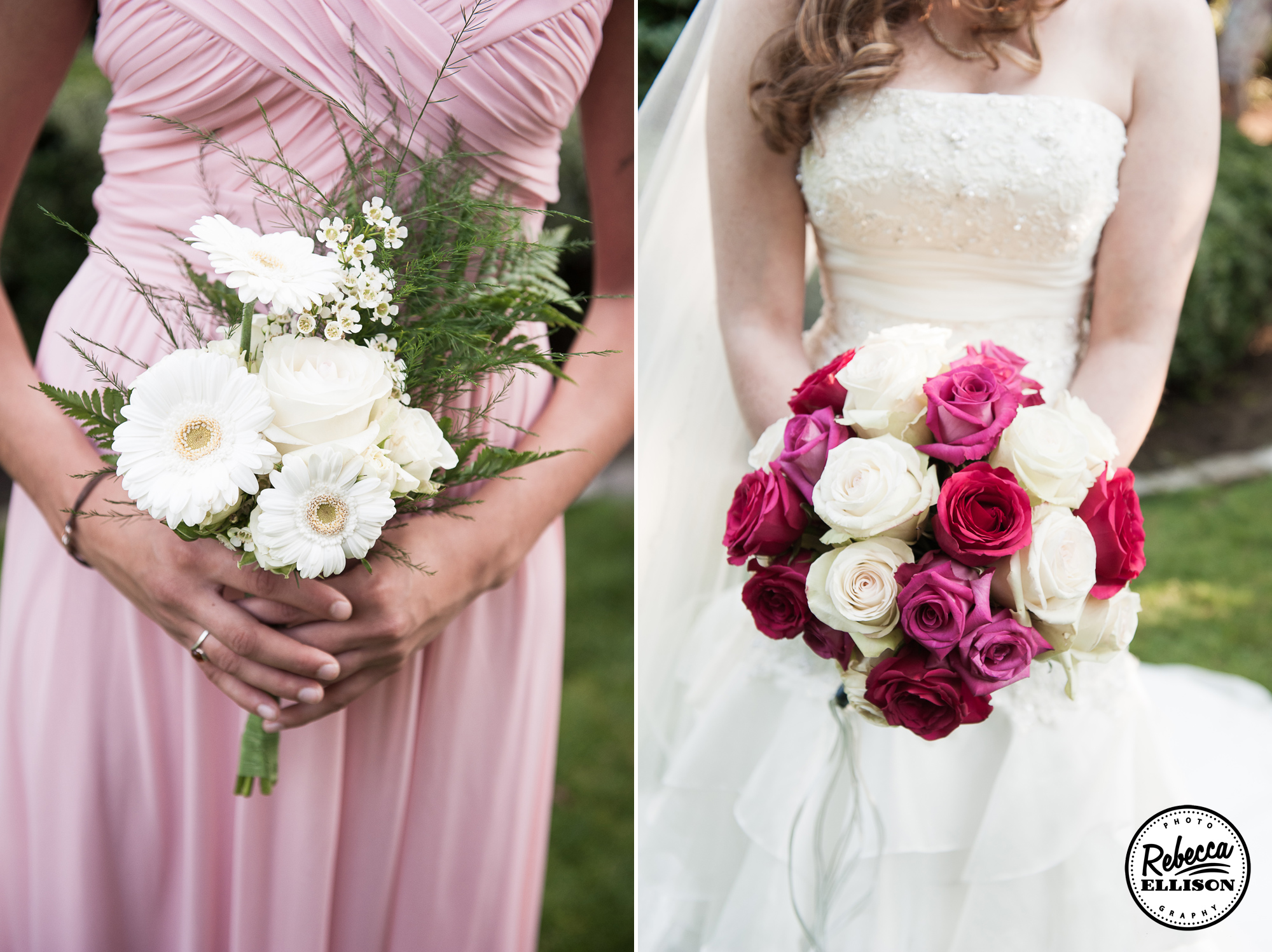 Wedding bouquets featuring white gerbera daisies and pink, white and red roses photographed by Rebecca Ellison Photography