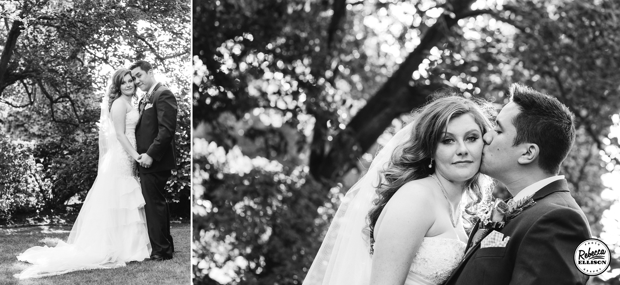 Outdoor Black and white wedding portraits of a bride and groom featuring a white tulip wedding dress photographed by Seattle wedding photographer Rebecca Ellison