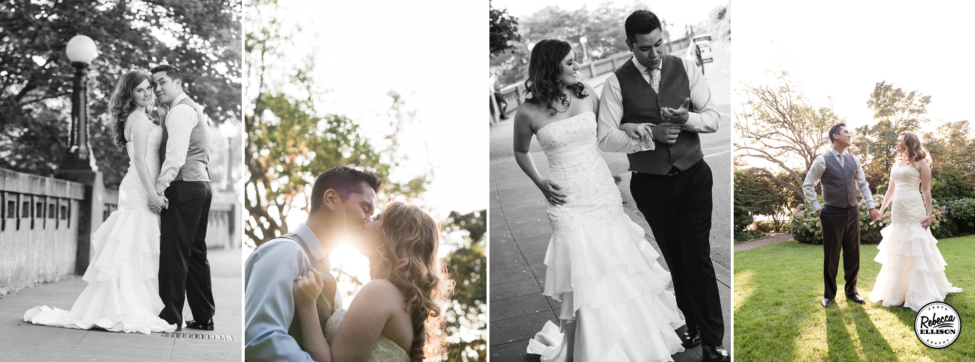 Bride and groom at sunset at their Parsons Garden wedding featuring a white strapless mermaid dress at Parsons Garden