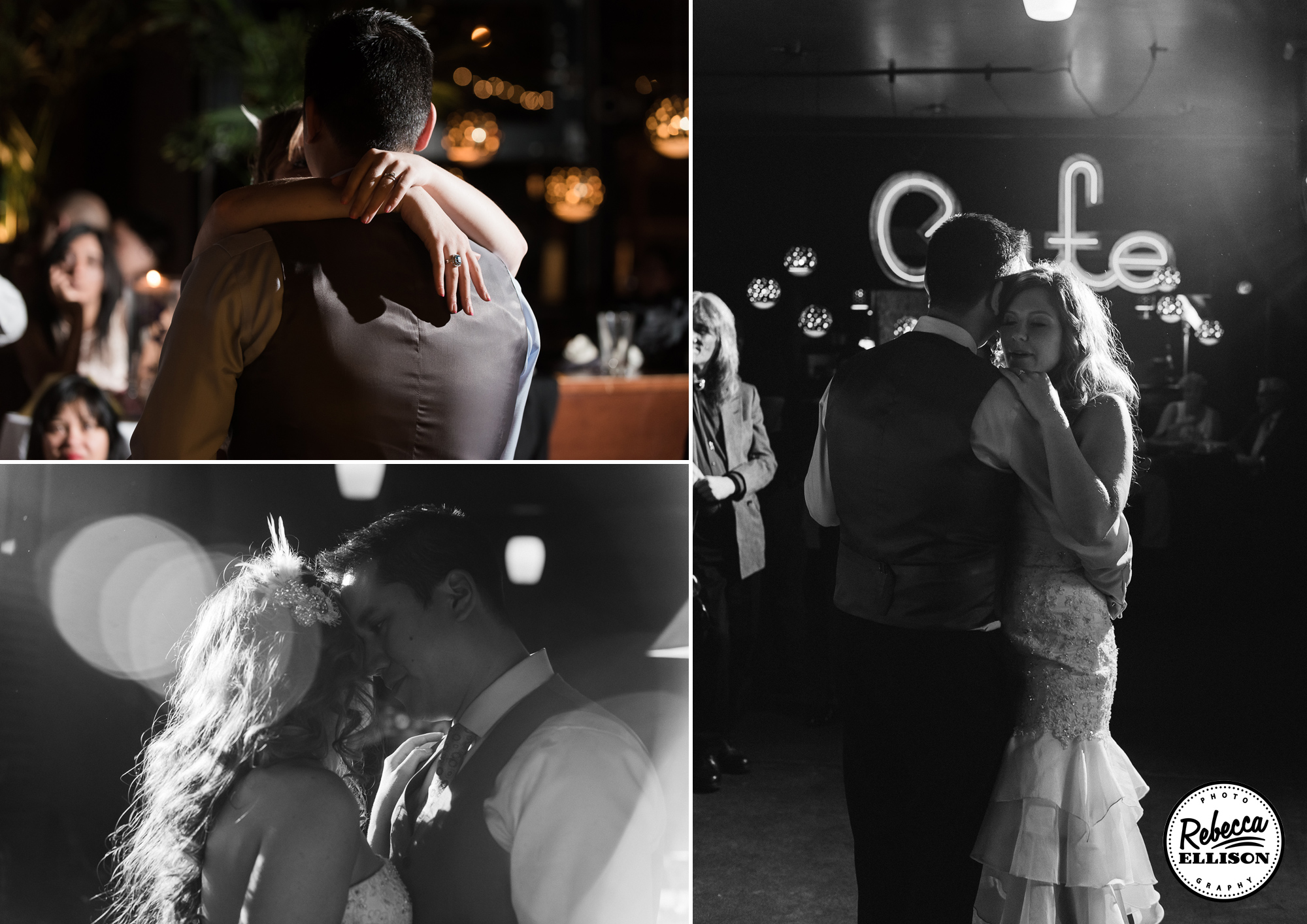 Bride and Groom dance at their wedding reception at the Ballroom during their summer Seattle wedding photographed by Seattle wedding photographer Rebecca Ellison