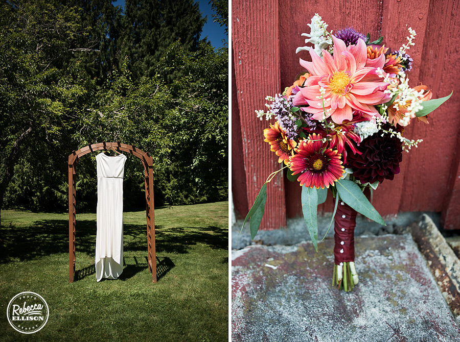 wedding dress hangs on  the alter,at farm kitchen poulsbo photographed by Seattle wedding photographer Rebecca Ellison
