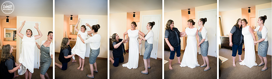 bride puts dress on  at farm kitchen poulsbo photographed by Seattle wedding photographer Rebecca Ellison