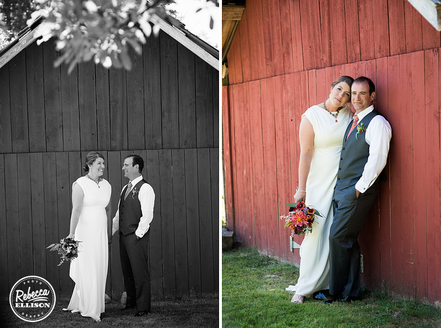 bride and groom portraits in front of red barn at farm kitchen wedding in poulsbo photographed by Seattle wedding photographer Rebecca Ellison