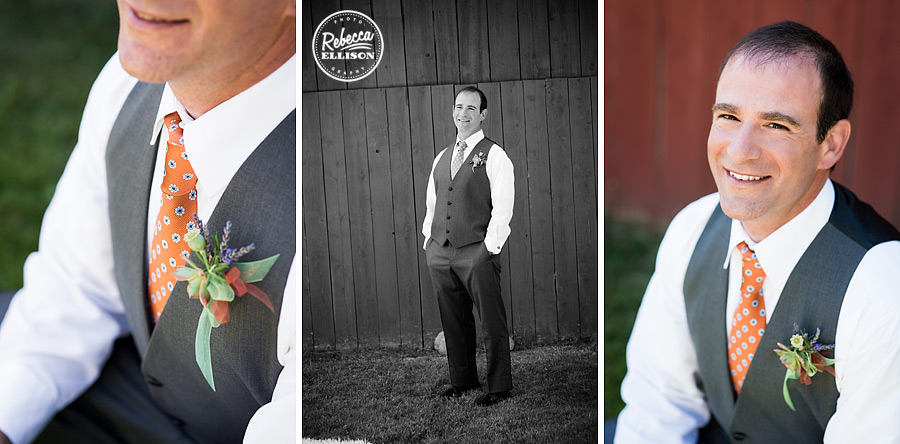 groom tie and boutineer detail photos in front of red barn at farm kitchen wedding in poulsbo photographed by Seattle wedding photographer Rebecca Ellison