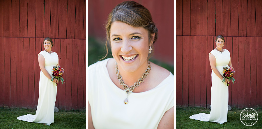 bride portraits in front of red barn wearing chainmail necklace by evecreate at farm kitchen wedding in poulsbo photographed by Seattle wedding photographer Rebecca Ellison