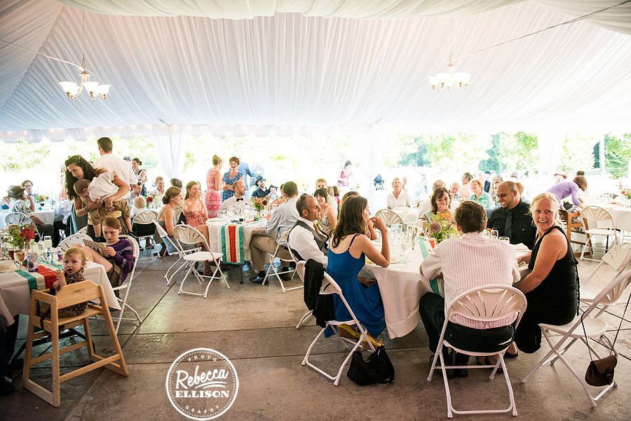 outdoor reception tent at  farm kitchen wedding in poulsbo photographed by Seattle wedding photographer Rebecca Ellison