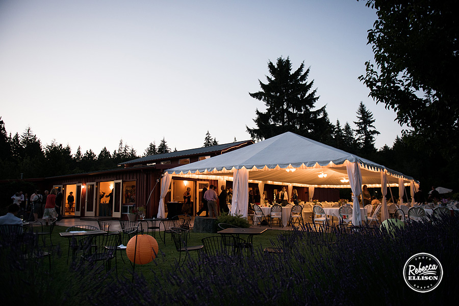 nighttime outdoor wedding venue of  farm kitchen wedding in poulsbo photographed by Seattle wedding photographer Rebecca Ellison