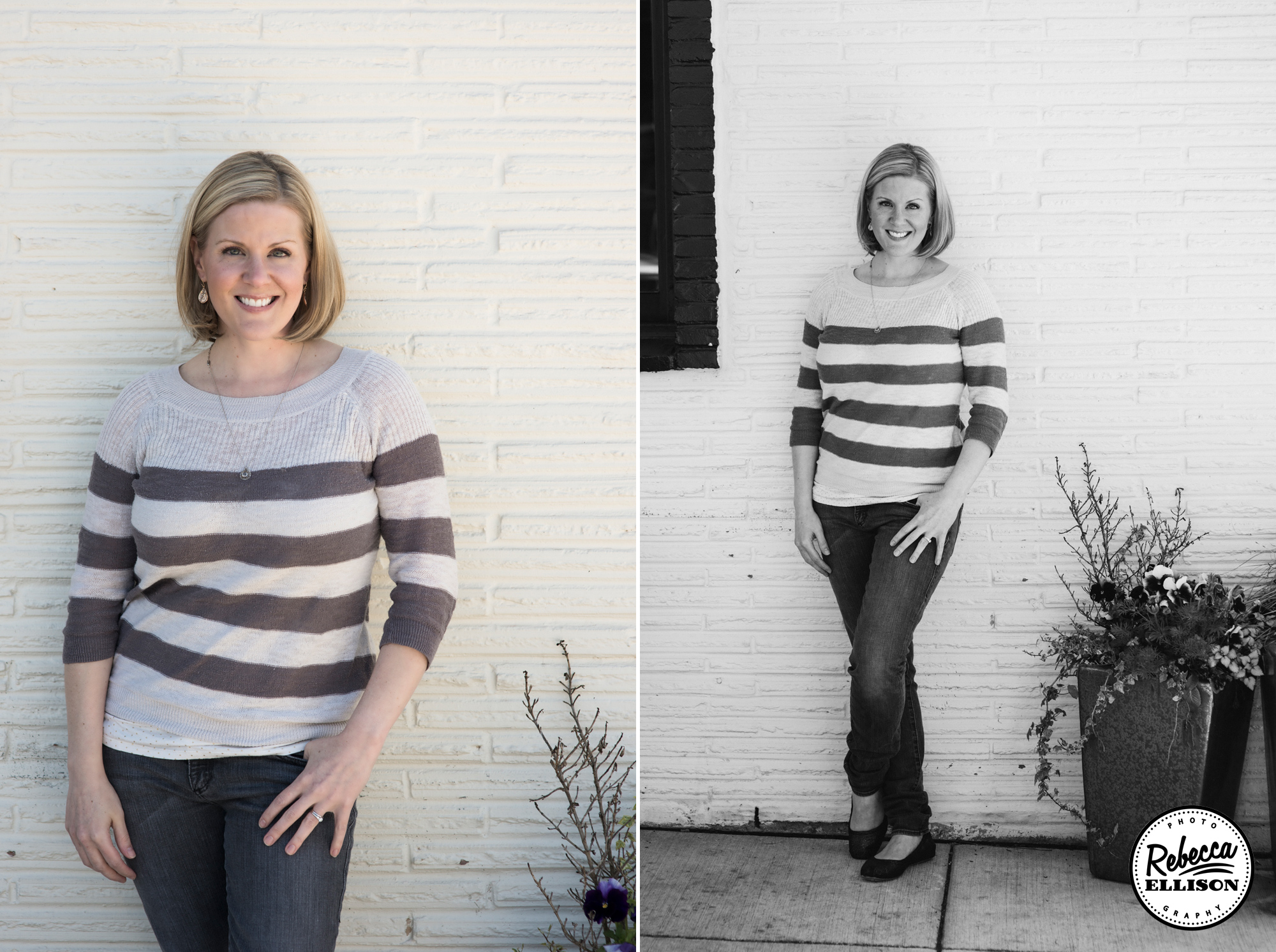 Professional Portraits featuring casual attire and a white brick wall photographed by Seattle headshot photographer Rebecca Ellison