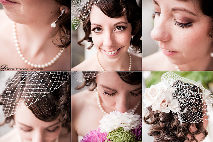 Bridal details featuring pearl earrings and a pearl necklace and a pill box veil