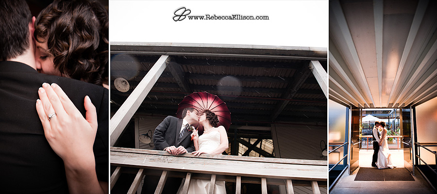 Bride and groom at their outdoor Gasworks Park wedding portraits featuring a Romona Keveza Designer Dress and umbrella from Bella's Umbrellas