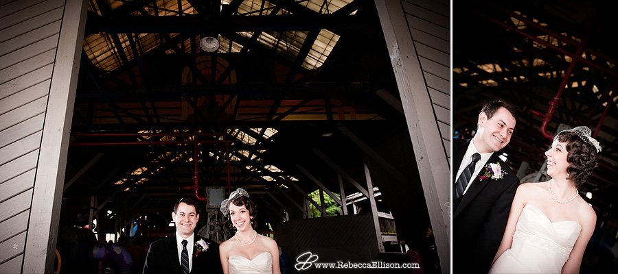 Gasworks park wedding portraits of a Bride and groom featuring a pill box veil and a striped tie photographed by Seattle wedding photographer Rebecca Ellison